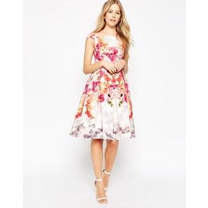 ASOS - Robe de bal de fin d'année mi-longue à encolure Bardot et épaules dénudées imprimé roses vintage - Multi
