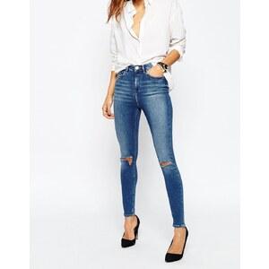 ASOS - Ridley - Knöchellange Skinny-Jeans in Darmera Mid Stonewash mit Zierrissen am Knie - Darmera Mittelblau