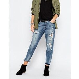 Only - Boyfriend-Jeans im Distressed-Look - Blau