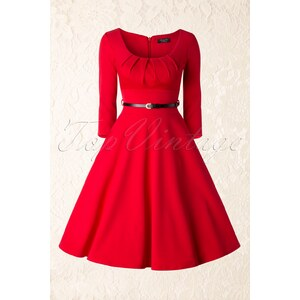 Vintage Chic 50s Marcella Swing Dress in Red