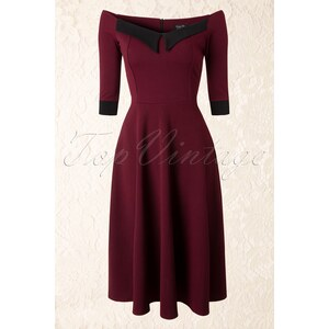 Vintage Chic 50s Noreen Swing Dress in Wine Red and Black Crêpe