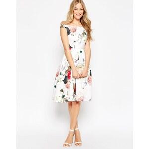 ASOS - Schulterfreies Midi-Ballkleid mit Blumenmuster - Mehrfarbig