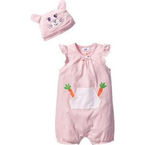 bpc bonprix collection Combinaison bébé à manches courtes + bonnet (Ens. 2 pces.) en coton bio, T. 56/62-92/98 rose enfant - bonprix
