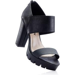RAINBOW Sandales noir avec 10 cm talon carréchaussures & accessoires - bonprix