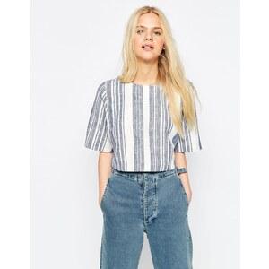 ASOS - T-shirt casual imitation lin à rayures - Multi