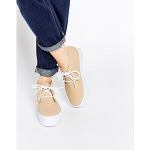 ASOS - DRAKE - Stiefel im Sneakers-Stil mit flacher Plateausohle - Beige