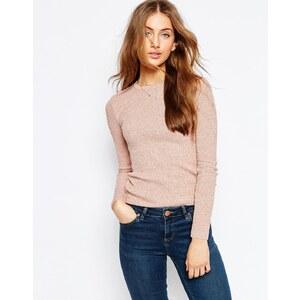 ASOS - Gerippter Pullover aus meliertem Garn - Blush