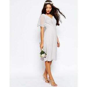 ASOS WEDDING - Robe mi-longue plissée avec dentelle - Gris