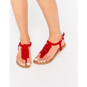 Daisy Street - Sandales à pompon - Rouge