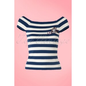 Bunny 50s Hailey Striped Top in Navy and Ivory