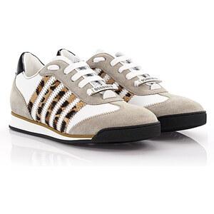 Dsquared Damen Sneakers New Runner Leder weiß Veloursleder grau Pony Leopard Print