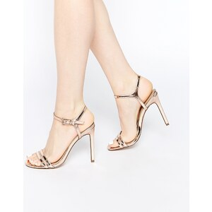 ASOS - HAPHAZARD - Sandalen mit Absatz - Hautfarben-Metallic