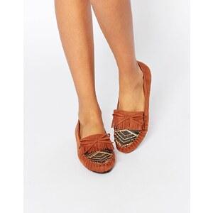 ASOS - MAINLAND - Chaussures plates effet tressé - Fauve