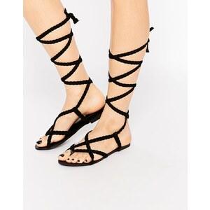 Glamorous - Sandales tressées à nouer - Noir - Noir