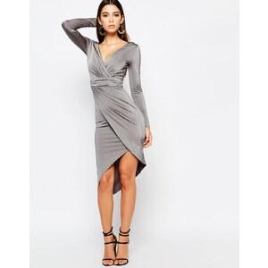 Lipsy - Langärmliges asymmetrisches Kleid aus Slinky-Stoff mit Wicklung vorne - Grau-Metallic
