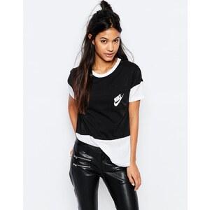 Nike - Signal - T-shirt oversize style color block avec petit logo - Noir