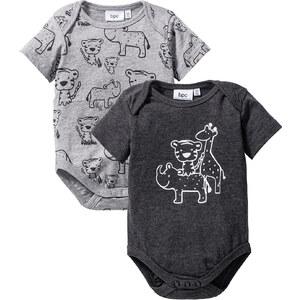 bpc bonprix collection Lot de 2 bodies bébé manches courtes en coton bio, T. 56/62-92/98 gris enfant - bonprix