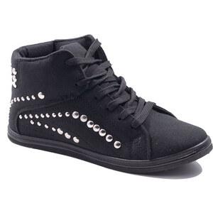Lesara Damen-Sneaker mit Nieten - Schwarz - 36