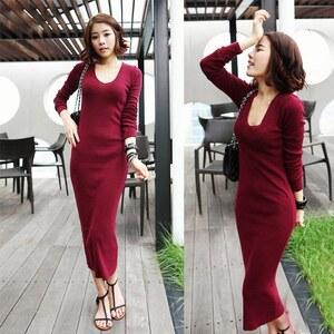 Lesara Damen-Kleid lang - Rot - L