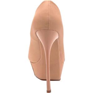 Lesara High Heels mit Plateau - Creme - 36