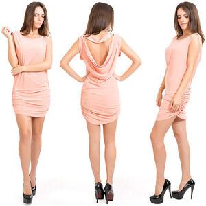 Lesara Partykleid mit Raffung - weiss-rosa - 44