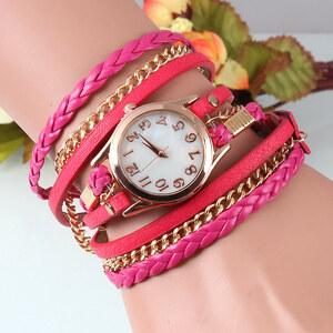 Lesara Wickel-Armbanduhr mit Bändern - Pink
