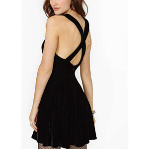 Lesara Kleid mit tiefem Ausschnitt - Schwarz - M