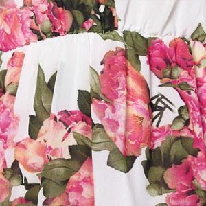 Lesara Jumpsuit mit Blumen-Muster - Weiß - M