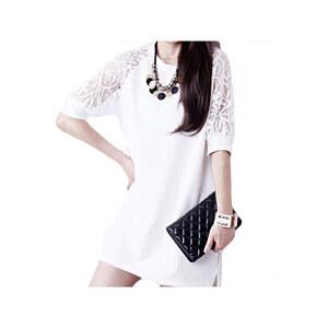 Lesara Kurzkleid mit verzierten Raglanärmeln - Weiß - XS