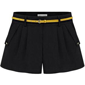 Lesara Shorts mit Bundfalten - Schwarz - S