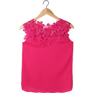 Lesara Chiffon-Bluse mit floraler Spitze - Rosé - XS
