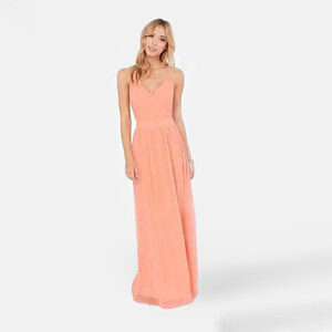 Lesara Damen-Maxikleid Pastell - Rosé Peach - M