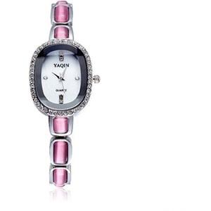 Lesara Armbanduhr mit Strass-Rand - Pink