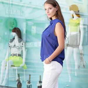 Lesara Ärmellose Bluse mit Brusttaschen-Applikationen - Blau - M