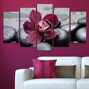 Lesara 5-teiliges Wandbild Orchidee - Einzelne Orchidee