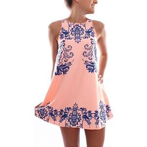 Lesara Kleid mit blauen Ornamenten - Rosé - XL