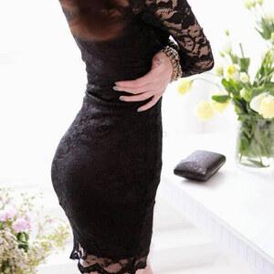 Lesara Kleid aus Spitze - Schwarz - L