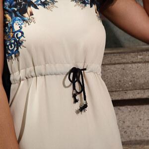 Lesara Kleid mit Blumen-Details - Beige - L