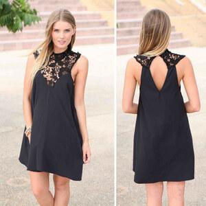 Lesara Kleid mit Spitzen-Ausschnitt - Schwarz - XS
