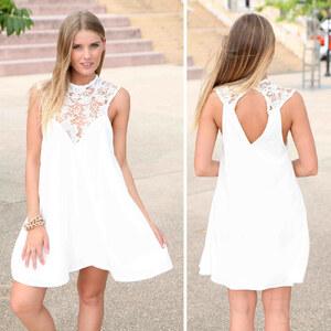 Lesara Kleid mit Spitzen-Ausschnitt - Weiß - L