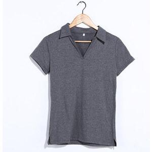 Lesara Kurzärmeliges Kragen-Shirt - Grau - S