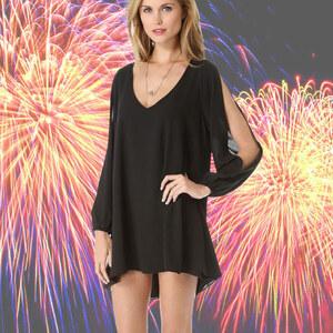 Lesara Kleid mit Armschlitzen - Schwarz - M