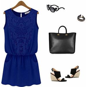 Lesara Kleid mit Spitzen-Detail - Blau - S