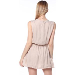 Lesara Kleid mit Spitzen-Detail - Beige - S