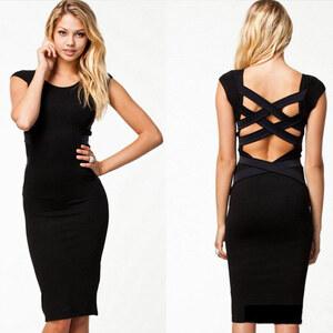 Lesara Kleid mit Rückenausschnitt - Schwarz - S-M