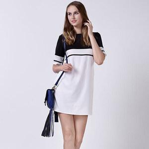 Lesara Kurzes Kleid mit Farbblöcken - Schwarz - S