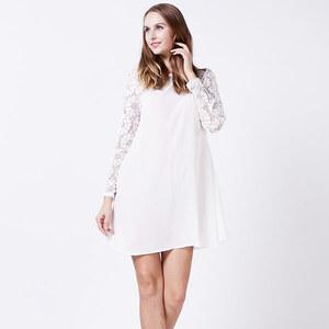 Lesara Kleid mit Spitze am Ärmel - Weiß - M