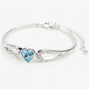 Lesara Armband mit herzförmigem Swarovski Elements - Hellblau