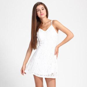 Lesara Spitzen-Kleid mit Herzausschnitt Weiß - Weiß - L
