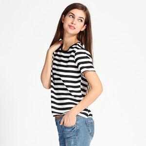 Lesara Gestreiftes T-Shirt mit Herz-Cut-Out - Weiß-Schwarz - M
